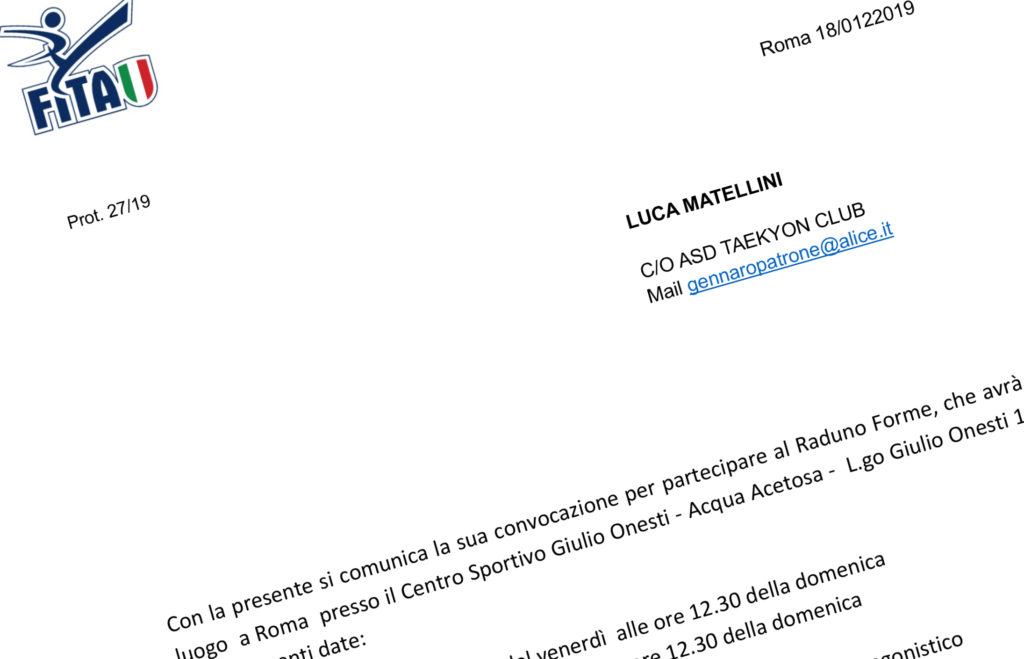 Luca Matellini nuovamente convocato al raduno forme nazionale