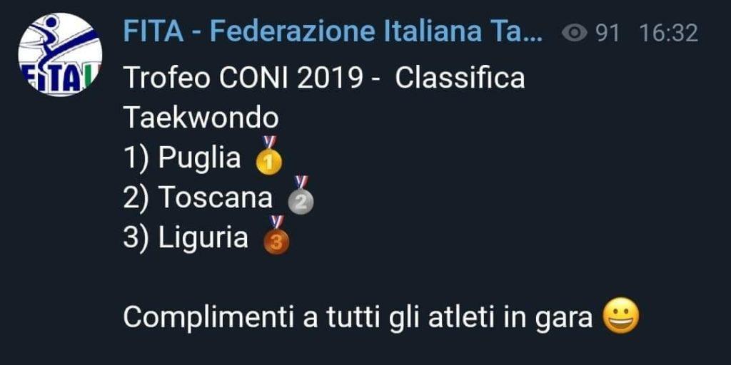 Toscana seconda al Trofeo CONI