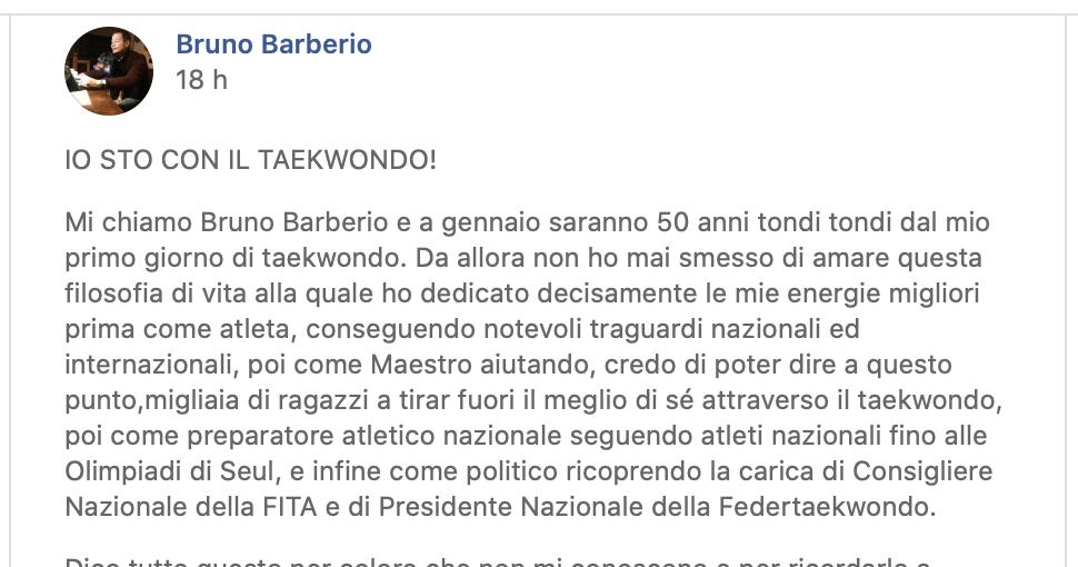 Sig. Barberio – Commento al post pubblicato su Facebook